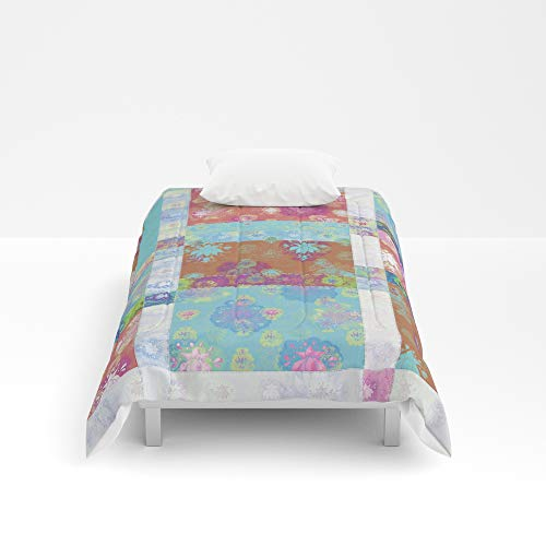 Society6 Comforter, Size Twin XL: 68'' x 92'', Lotus Flower Turquoise and Apricot Stitched Patchwork - Woodblock Print Style Pattern by evalundbergline by Society6 (Image #1)