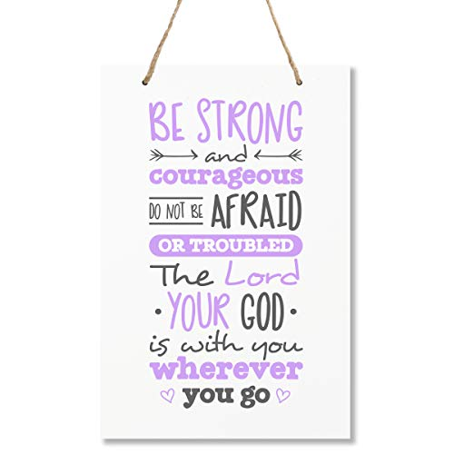 """LifeSong Milestones Be Strong and Courgeous Joshua 1:9 Wall Decorations Signs for Kids, Bedroom, Nursery, Baby's Boys and Girls Room, Toddlers Size 8"""" x 12"""" Proudly Made in USA (Purple) ()"""