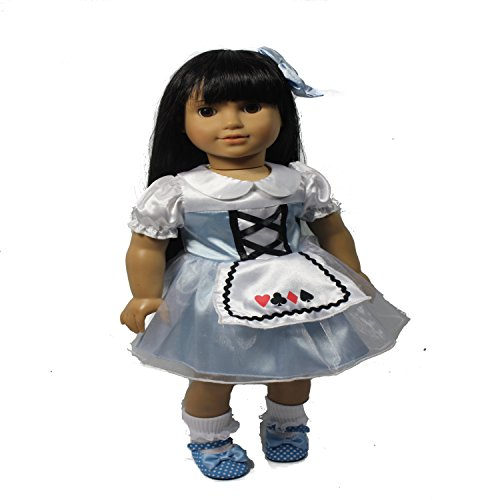 Arianna Alice in Wonderland Costume 4pcs | Dress | White Lace Sock |Blue Hairbow Hairclip | Maryjane Shoes |Doll Costume Fits 18 inch American Doll Clothes | Value Bundle ()