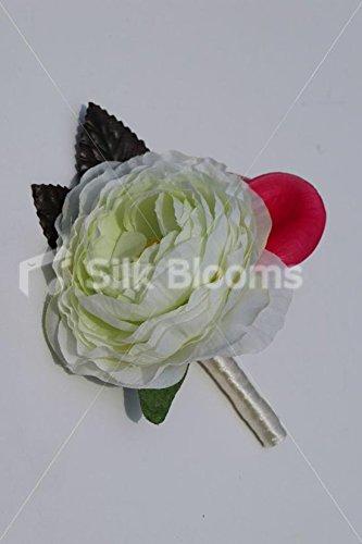 Ivory-Green-Ranunculus-Wedding-Buttonhole-w-Pink-Frangipani