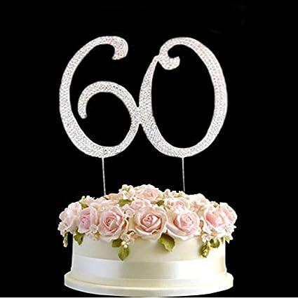 Amazon Com Rhinestone Silver Diamante 60 Birthday Cake Diamonte