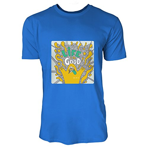 SINUS ART® Lustiges Monster mit Aufschrift Life Is Good Herren T-Shirts in Blau Fun Shirt mit tollen Aufdruck