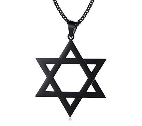 MP Stainless Steel Black Jewish Tantrism Star David Charm Pendant Necklace Men Women Unisex