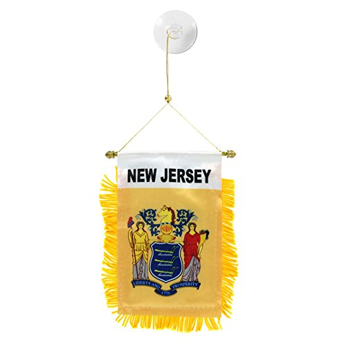 US Flag Store New Jersey Mini Window Banner - New Jersey Outdoor State Flag