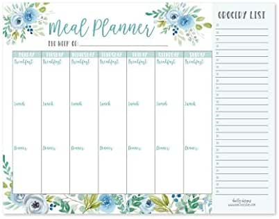 Teal Floral Weekly Meal Planning Calendar Grocery Shopping List Magnet Pad for Fridge, Magnetic Family Pantry Food Menu Board Organizer, Week Diet Prep Planner Tool, Refrigerator Eat Dinner Notepad