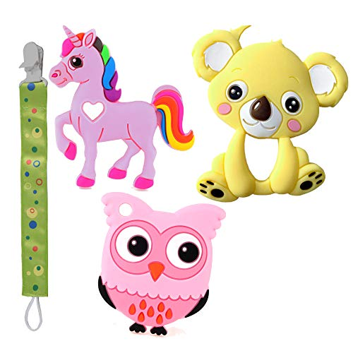 Baby Teething teethers Chew Toys, Organic teether Baby Tooth Toy Frozen Toys Safe Teether, BPA Free Natural, Free Bonus 1 Teether Holder Animals Shape (4 Pack)