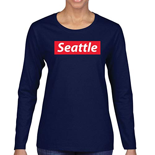 Red Box Logo Seattle City Pride Womens Long Sleeve Graphic T-Shirt, Navy, X-Large