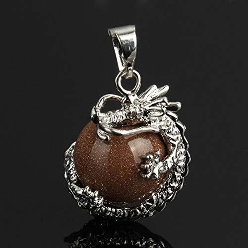 Natural Rose Stone 3D Dragon Pendant | Round Ball Quartz Tiger Eye Malachite Stone Pendant | for Necklace