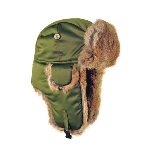 Mad Bomber Original Balaclavas Headwear, Olive with Brown Rabbit Fur, Medium