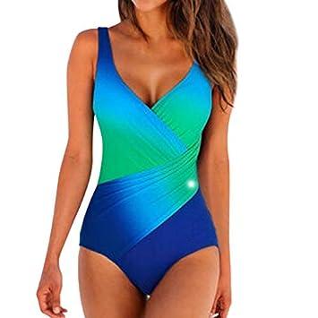Mujer Bañador Tallas Grandes Traje De Baño De Una Pieza Cuello V Sin Respaldo Maravilloso multicolor Jumpsuit por Yesmile
