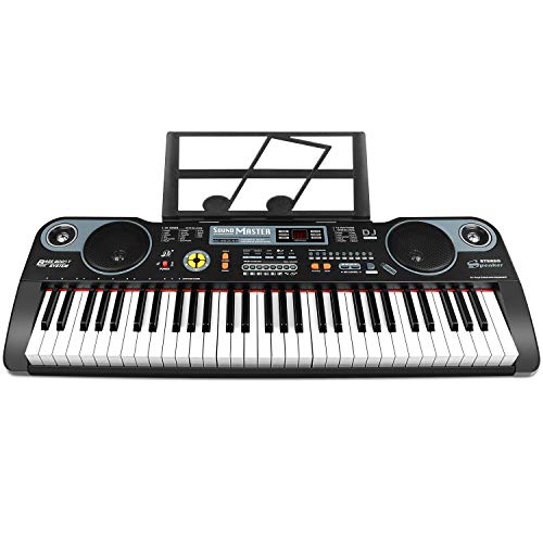 ZJTL 61-Key Digital Electric Piano Keyboard &Music Stand &microphone- Portable Electronic Keyboard (Kids & Adults) MQ-860USB