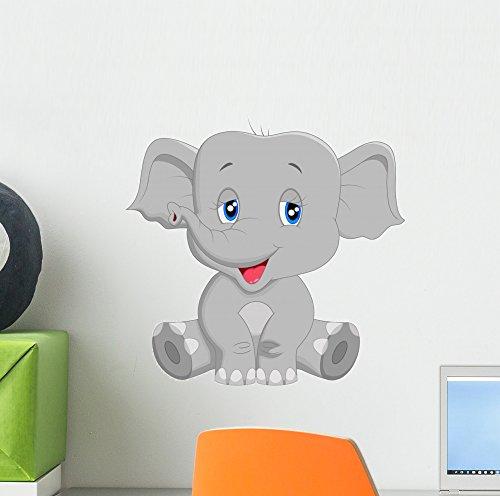 Wallmonkeys Cute Baby Elephant Cartoon Wall Decal Peel and Stick Graphic (12 in W x 12 in H) WM139010