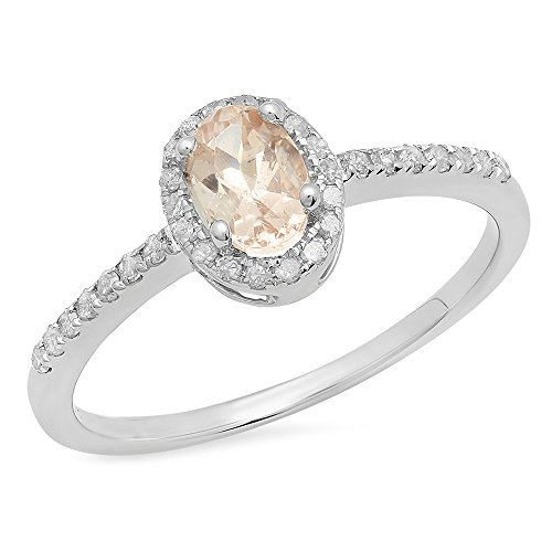 Sterling Silver Oval Morganite & Round White Diamond Bridal Halo Style Engagement Ring (Size 5) by DazzlingRock Collection