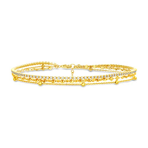 MIA SARINE 9 Triple Layer Ball Station Sparkle and Cubic Zirconia Tennis Anklet for Women in Yellow Gold Plated Sterling Silver (Yellow)