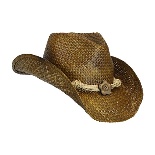 Western Seagrass Straw Cowboy Hat - Cute Vintage Cowgirl Hat w/ Flower