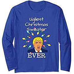 Unisex Ugliest Christmas Sweater Ever for Anti Trump Crowd Small Royal Blue