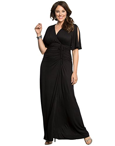 KIYONNA Women's Plus Size Bella Braided Maxi Dress 2X Black Noir by KIYONNA
