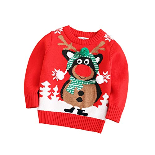 Velius Girl's Long Sleeve Knit Elk Christmas Sweater Tops (1 Year/90cm, Reindeer #4)