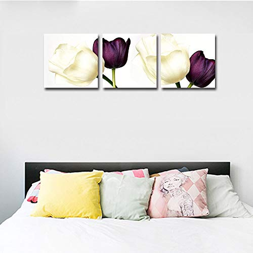 Mon Art Tulip Wall Art White Purple Tulips Pictures wall art flower pictures wall decor for bathroom wall decor rose pictures for living room bedroom deocor modern canvas pictures Framed 16 x16 3 Pcs