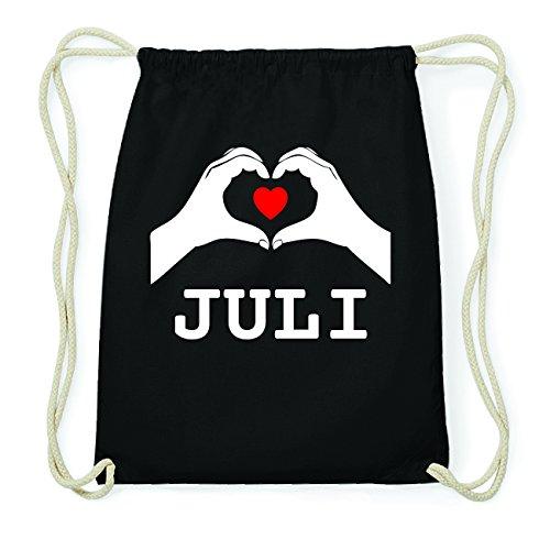 JOllify JULI Hipster Turnbeutel Tasche Rucksack aus Baumwolle - Farbe: schwarz Design: Hände Herz