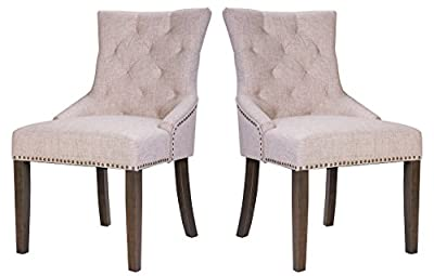 Merax Fabric Dining Chairs Set of 2 Leisure Padded Chair with Wood Legs and Armrest, Nailed Trim