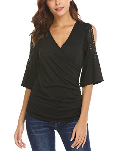 Gfones Women's Loose Cold Shoulder Wrap Tops Lace up Half Sleeve T-Shirts - Wrap Half