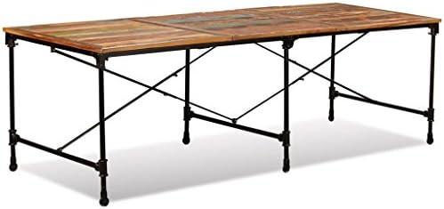 SHENGFENG Mesa de Comedor Multicolor con Ruedas,Mesa para Jardín Mesa de Cocina Mesa de Exterior,de Madera Reciclada + Acero 240 x 90 x 76 cm: Amazon.es: Hogar