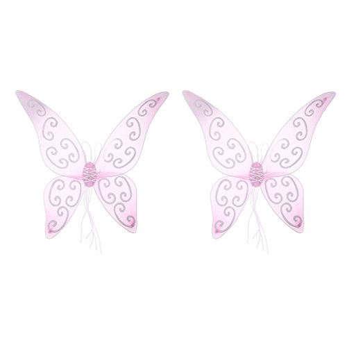 Baoblaze 2 Pieces Fashion Women Girls Glitter Pink Butterfly Wings Angel Fairy Wings Holiday Role Play Dressing up Accessories Props -