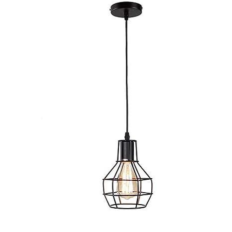 Lámpara Colgante,Lámpara De Techo Moderna Retro Hierro Lámpara Vintage Lámpara de estilo Industrial minimalista Lámpara de Techo,Negro,Iluminación 60W ...