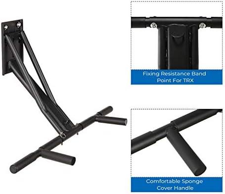 Kicode - Barra de inmersión multifuncional, 2 en 1, barra de dominada y barra de inmersión, equipo de ejercicio, montaje en pared, árbol o poste con 2 ...