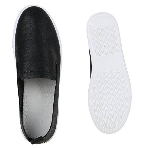 Stiefelparadies Damen Strass Slip-Ons Sneakers Skater Slipper Helle Sohle Bequem Flandell Schwarz Camiri