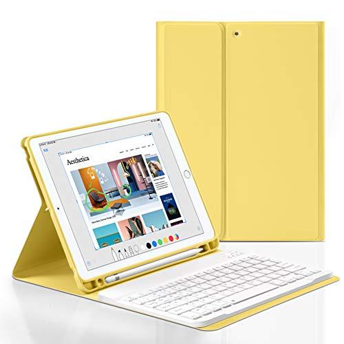 Bluetooth Keyboard Smart Case for iPad 7th Generation 10.2 inch 2019/iPad 8th Gen 2020,Wireless Detachable iPad Keyboard Case with Pencil Holder,Auto Sleep/Wake (Yellow)