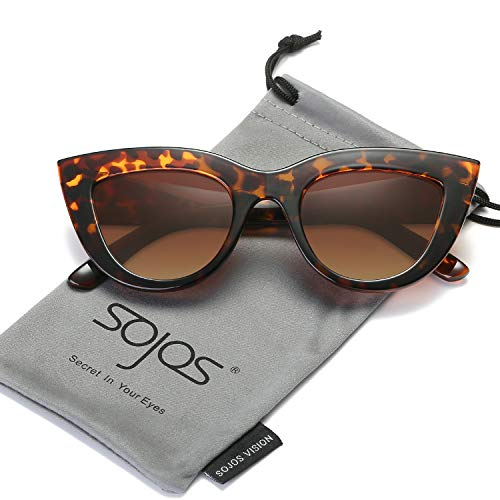 Frame Brown Tortoise (SOJOS Retro Vintage Cateye Sunglasses for Women Plastic Frame Mirrored Lens SJ2939 with Tortoise Frame/Brown Lens)