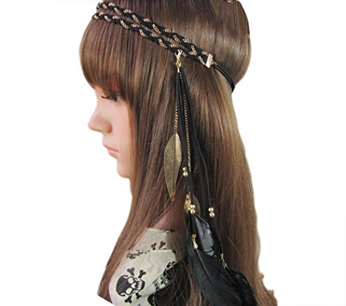 Dance Armband - Feather Headband Bohemian Festival Belly Dance Tribal Bridal Wedding Headpiece (Black)