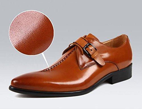 HWF Scarpe Uomo in Pelle Scarpe da uomo in pelle da lavoro traspirante (Colore : Red-brown, dimensioni : EU44/UK8.5) Brown Yellow