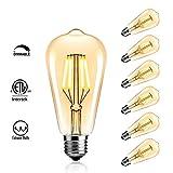 Dimmable Edison LED Bulb, StillCool 4W ST64 Warm 2200K 330Lumens, 40W Equivalent - Vintage Filament LED Lighting Bulbs E26 Base Lamp for Restaurant Home Reading Room Office (6, Warmwhite(4 W))