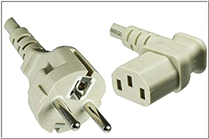 Kaltgeräte-Stromkabel 2m grau Schutzkontakt-Stecker 90° an Kaltgeräte-Buchse 90°
