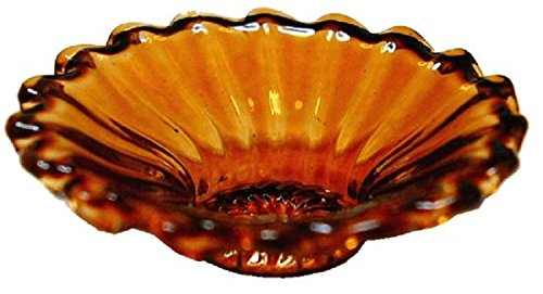 Bright Delights Dollhouse Miniature Amber Ribbed Glass Dish