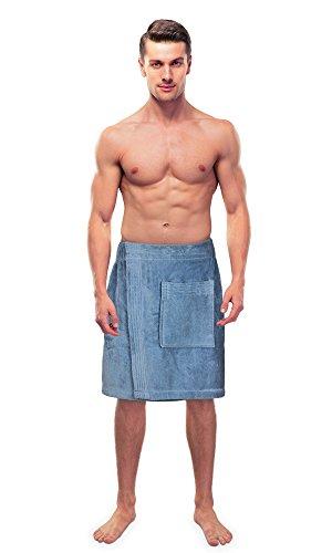 TURKUOISE TURKISH TOWEL Turkuoise Men's Cotton Terry Velour Bath Towel Wrap Made in Turkey (Light Blue)