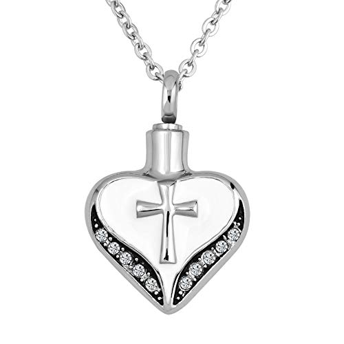 EV.YI Jewels Love Heart with Cross Urn Necklace for Ashes Cremation Keepsake Pendant for Women Mom Aunt ()