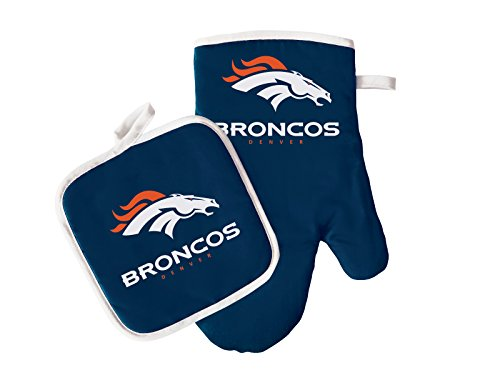 - Pro Specialties Group NFL Denver Broncos Oven Mitt and Pot Holder Set