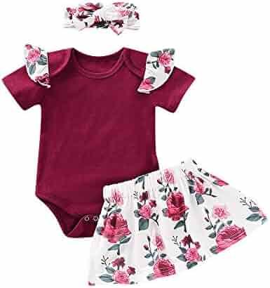 4ecf9b7d9 3 Pcs Infant Girl Clothes Baby Girls Outfits Romper Jumpsuit Floral Pants Bodysuit  Skirt Headband Baby