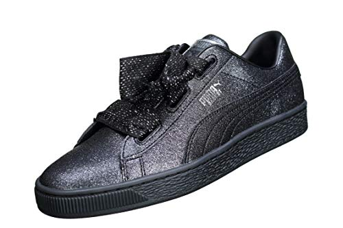 Glamour 38 367630 Nero 02 Glitter Nero Puma Heart Sneakers Jr Basket Holiday 1UqHUIv