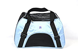 """IrisPets Pet Airline Travel Approved Airport Pet Carrier, Soft Sided Portable Folding Under Seat Air Travel Pet Carriers Bag for Dogs/Cats Small Animals - Medium(17""""L9""""W12""""H), Blue"""