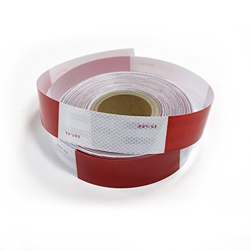 Brightplus DOT-C2 Conspicuity Safety DOT Reflective Tape 11'' Red 7'' White For Trailer Vehicle Truck, Trailer Reflector, Reflector Tape Roll (2'' x75') by BP-017