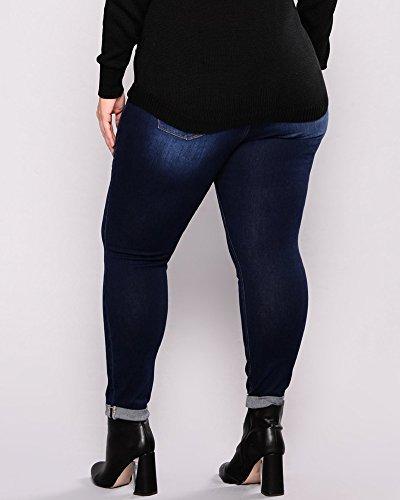 La Haute Dchirs Pantalons Hanche Taille Taille Slim Jeans Grande Jeans Stretch Fonc Bleu Crayon Femme 1zYqYwHxf
