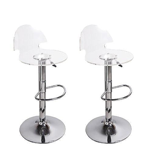 Adeco Transparent Acrylic Hydraulic Lift Adjustable Barstool Chair Chrome  Finish Pedestal Base (Set Of Two)