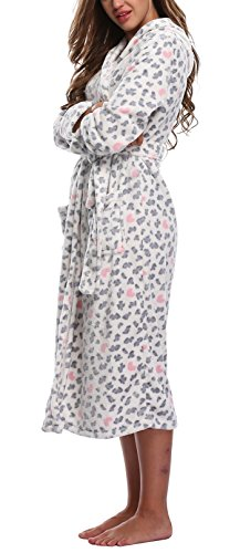 WitBuy Women's Animal Print Long Plush Robe Warm Hooded Bathrobe Fleece Spa Robe White - Animal Plush Print