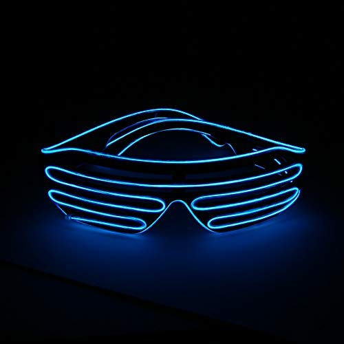 YinStore Light Up EL Wire Neon Shutter Glasses Flashing LED Rave Sunglasses for 80s, EDM, Parties Decorations