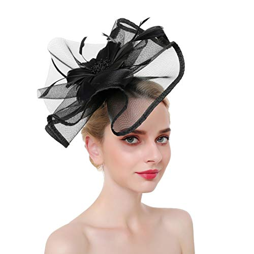 (Vintage Fascinators Flower Feather Headband Top Hat Wedding Cocktail Kentucky Derby Hair Clip for Women (Black))